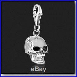925 Sterling Silver Clip on Bracelet Charm Skull 3D Charms for Bracelets