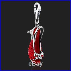 925 Sterling Silver Clip on Charm for Bracelet Red Shoe Swarovski Crystal 3D