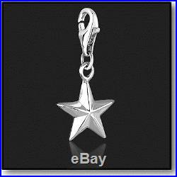 925 Sterling Silver Clip on Charms for Charm Bracelets Silver 3D Star