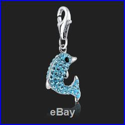925 Sterling Silver Dolphin Clip on Charm Swarovski Crystal 3D Bracelet Charms