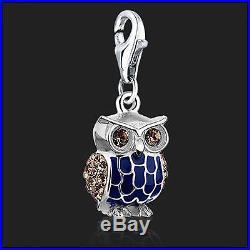 925 Sterling Silver Owl clip on Bracelet Charm Swarovski Crystal Charms 3D Owls