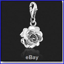 925 Sterling Silver Rose Clip on Charms for Charm Bracelets in 3D Bracelet