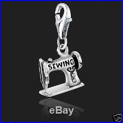 925 Sterling Silver Sewing Machine Clip on Bracelet Charms for Charm Bracelets