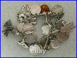 ANTIQUE Boer War VICTORIAN STERLING SILVER LOVE CHARM BRACELET COINS