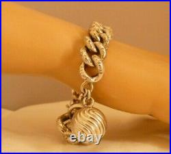 ANTIQUE FRENCH VICTORIAN ORNATE CURB LINK STERLING SILVER BRACELET w BALL CHARM