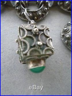 ANTIQUE VINTAGE Italian Etruscan 800 SILVER charms pendant green stones BRACELET