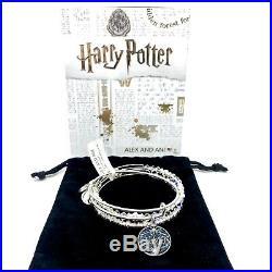 Alex And Ani Harry Potter Lumos Charm & Beaded Bangle Bracelet Set 3 Pieces NWT