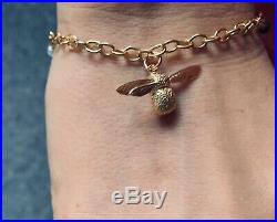 Alex Monroe Charm Bracelet with Baby Bee 22ct gold plated sterling silver