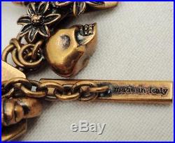 Alexander Mcqueen Skull Swarovski Crystal Charms Bracelet Boxed