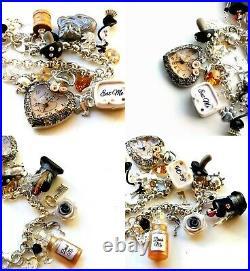 Alice in Wonderland Sterling Silver Statement Charm Bracelet