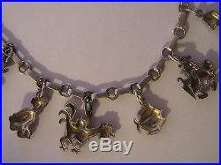 Antique Art Deco German 800 Silver & Enamel Animal Charm Bracelet with 12 Charms