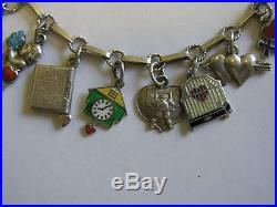 Antique Art Deco German 800 Silver & Enamel Heart Charm Bracelet with 20 Charms