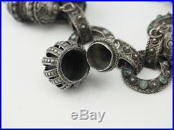 Antique Etruscan 800 silver turquoise chunky poison box charms bracelet Italy