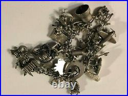 Antique Loaded WWII Sterling Silver Charm Bracelet 59 g with 28 Charms