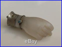 Antique MOP Pearl Figa Charm Wearing Tiny Sterling Silver Turquoise Bracelet