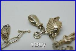 Antique Man In The Moon Silver Charm Bracelet Imp Cherub 54g Victorian