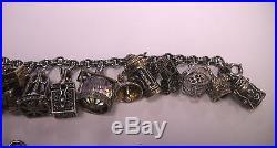 Antique Rare Sterling Silver Charm Bracelet 8 + bonus