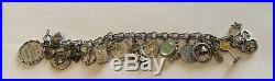 Antique Sterling Silver Huge Charm Bracelet Loaded With Charms