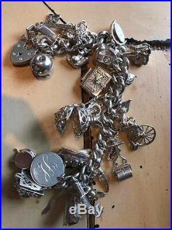 Antique Victorian Silver Charm Bracelet 25 charms 116 grams