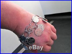 Antique Victorian Silver Love Token Charm Bracelet 20 Tokens