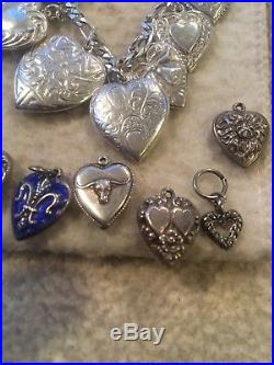 Antique Victorian Sterling Silver 28 PUFFY HEARTS Heart CHARM & Enamel BRACELET