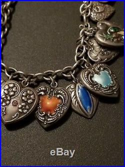 Antique Victorian Sterling Silver 925 Puffy Heart 18 Charms Bracelet Enameled