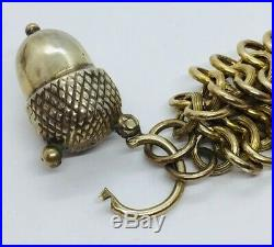 Antique Victorian Sterling Silver Gold Vermeil Link Acorn Padlock Charm Bracelet