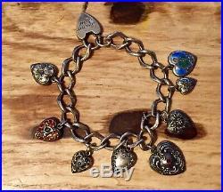 Antique Victorian Sterling Silver Puffy Heart Enamel Charm Bracelet & Heart Lock