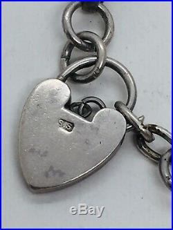 Antique Victorian Sterling Silver Star Link Heart Padlock Charm Bracelet