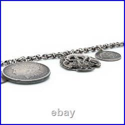 Antique Vintage Art Nouveau 925 Sterling Silver Religious Charm HUGE Bracelet