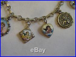Antique Vintage Deco German Silver Enamel 11 Cherub Angel Charm Bracelet 6.75