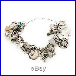 Antique Vintage Deco Mid Century Sterling Silver 14k Gold HEAVY Charm Bracelet