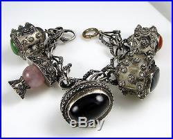 Antique Vintage Etruscan 800 Silver Onyz Quartz Fob 5 Charm One Opens! Bracelet