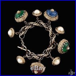 Antique Vintage Nouveau Sterling Silver Fruit Salad Glass Acorn Charm Bracelet