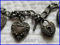 Antique Vintage Sterling Silver Puffy Heart Charm Bracelet 7.5 Heart Lock