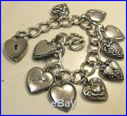 Antique Vintage Sterling Silver Puffy Heart Charm Bracelet 9 Charms Heart Catch