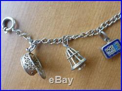 Antique vintage Chinese silver filigree 8 charm bracelet gilt vermeil enamel gol