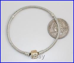 Auth Pandora 590702HG-19 Sterling Silver 14K Gold Starter Charm Bracelet 7.5 FZ