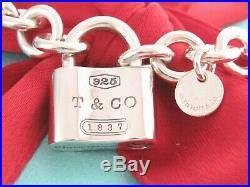 Auth Tiffany & Co Silver 925 1837 Padlock Charm Pendant Bracelet 8.25