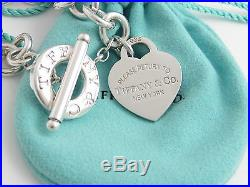 Auth Tiffany & Co Silver Return to Tiffany Heart Charm Toggle 8 Inch Bracelet