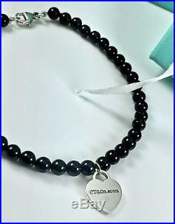 Auth Tiffany & Co Sterling Silver Mini Onyx Bead Bracelet with heart Charm 7 L
