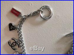 Authentic Chanel Silver Tone Charms CC Logo Toggle Bracelet