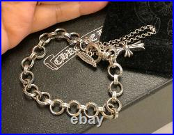 Authentic Chrome Hearts Ring Baby Fat Cross Charms 7 Bracelet Smoke Sterling