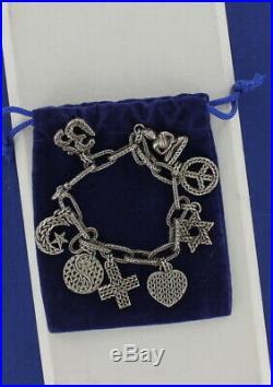 Authentic John Hardy Sterling Silver FAITH Charm Bracelet 42 grams