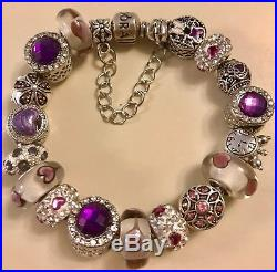 Authentic PANDORA BRACELET with European Charms Beads PURPLE & Pandora Box