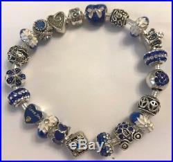Authentic PANDORA Silver BRACELET with Navy European Charm Beads Deluxe & Box