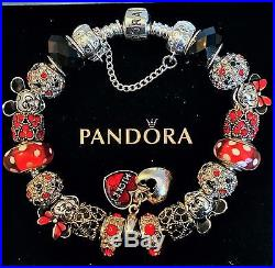 Authentic PANDORA Silver Bracelet Mickey Minnie Disney European Charm Bead #D4