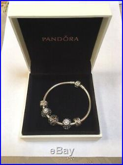 Authentic PANDORA Sterling Silver 7.5 Bracelet, Clips & Charms withBox
