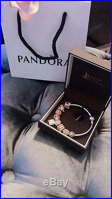 Authentic Pandora Bangle Sterling Silver Bracelet & Rose Gold Tone Charm In Box