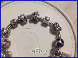 Authentic Pandora Barrel Clasp Bracelet 14k Gold 14 Charms Beads Dangle 925 ALE